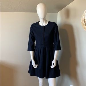 Gap navy pleated fit and flare dress size 4